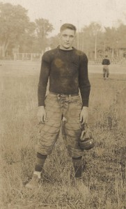 Albert Hall, captain of the football team, Kalamazoo College, Class of 1917.  Courtesy of the Kalamazoo College Archives.